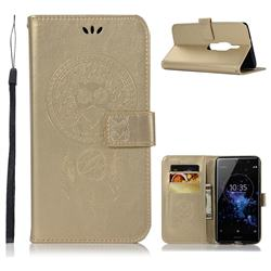 Intricate Embossing Owl Campanula Leather Wallet Case for Sony Xperia XZ2 Premium - Champagne