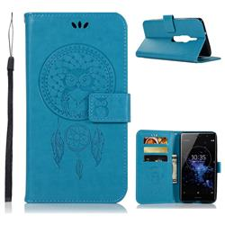 Intricate Embossing Owl Campanula Leather Wallet Case for Sony Xperia XZ2 Premium - Blue