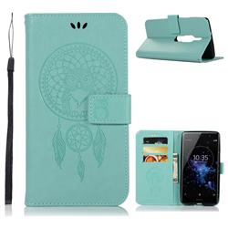 Intricate Embossing Owl Campanula Leather Wallet Case for Sony Xperia XZ2 Premium - Green