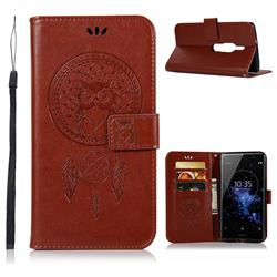 Intricate Embossing Owl Campanula Leather Wallet Case for Sony Xperia XZ2 Premium - Brown