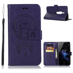 Intricate Embossing Owl Campanula Leather Wallet Case for Sony Xperia XZ2 Premium - Purple