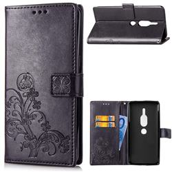 Embossing Imprint Four-Leaf Clover Leather Wallet Case for Sony Xperia XZ2 Premium - Black