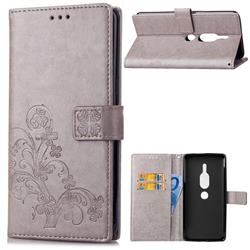 Embossing Imprint Four-Leaf Clover Leather Wallet Case for Sony Xperia XZ2 Premium - Grey