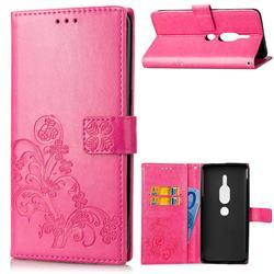 Embossing Imprint Four-Leaf Clover Leather Wallet Case for Sony Xperia XZ2 Premium - Rose