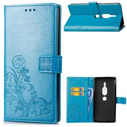 Embossing Imprint Four-Leaf Clover Leather Wallet Case for Sony Xperia XZ2 Premium - Blue