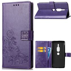Embossing Imprint Four-Leaf Clover Leather Wallet Case for Sony Xperia XZ2 Premium - Purple