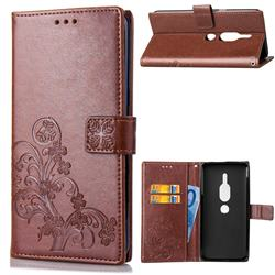 Embossing Imprint Four-Leaf Clover Leather Wallet Case for Sony Xperia XZ2 Premium - Brown