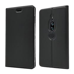 Ultra Slim Card Magnetic Automatic Suction Leather Wallet Case for Sony Xperia XZ2 Premium - Star Grey