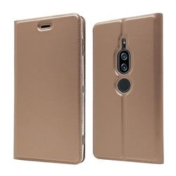 Ultra Slim Card Magnetic Automatic Suction Leather Wallet Case for Sony Xperia XZ2 Premium - Rose Gold