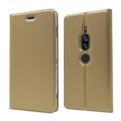 Ultra Slim Card Magnetic Automatic Suction Leather Wallet Case for Sony Xperia XZ2 Premium - Champagne