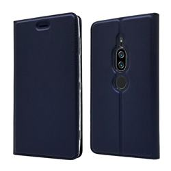 Ultra Slim Card Magnetic Automatic Suction Leather Wallet Case for Sony Xperia XZ2 Premium - Royal Blue