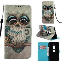 Sweet Gray Owl 3D Painted Leather Wallet Case for Sony Xperia XZ2 Premium