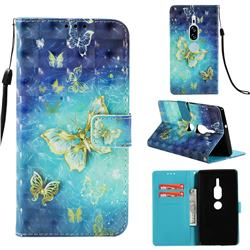 Gold Butterfly 3D Painted Leather Wallet Case for Sony Xperia XZ2 Premium