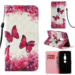 Rose Butterfly 3D Painted Leather Wallet Case for Sony Xperia XZ2 Premium