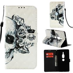 Skull Flower 3D Painted Leather Wallet Case for Sony Xperia XZ2 Premium