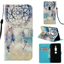 Fantasy Campanula 3D Painted Leather Wallet Case for Sony Xperia XZ2 Premium