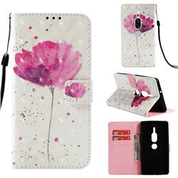 Watercolor 3D Painted Leather Wallet Case for Sony Xperia XZ2 Premium