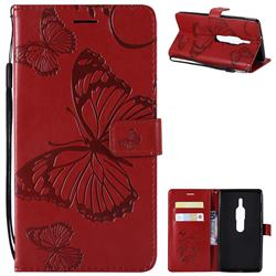 Embossing 3D Butterfly Leather Wallet Case for Sony Xperia XZ2 Premium - Red