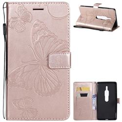 Embossing 3D Butterfly Leather Wallet Case for Sony Xperia XZ2 Premium - Rose Gold