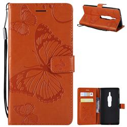 Embossing 3D Butterfly Leather Wallet Case for Sony Xperia XZ2 Premium - Orange