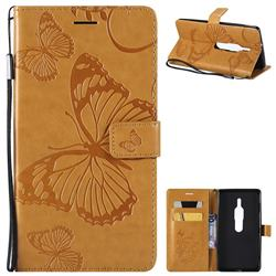 Embossing 3D Butterfly Leather Wallet Case for Sony Xperia XZ2 Premium - Yellow