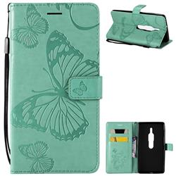 Embossing 3D Butterfly Leather Wallet Case for Sony Xperia XZ2 Premium - Green