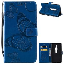 Embossing 3D Butterfly Leather Wallet Case for Sony Xperia XZ2 Premium - Blue