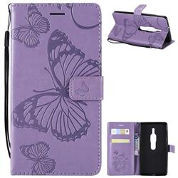 Embossing 3D Butterfly Leather Wallet Case for Sony Xperia XZ2 Premium - Purple