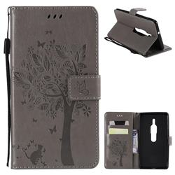 Embossing Butterfly Tree Leather Wallet Case for Sony Xperia XZ2 Premium - Grey
