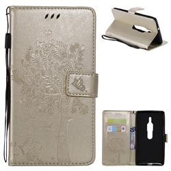 Embossing Butterfly Tree Leather Wallet Case for Sony Xperia XZ2 Premium - Champagne