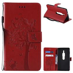 Embossing Butterfly Tree Leather Wallet Case for Sony Xperia XZ2 Premium - Red