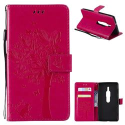 Embossing Butterfly Tree Leather Wallet Case for Sony Xperia XZ2 Premium - Rose