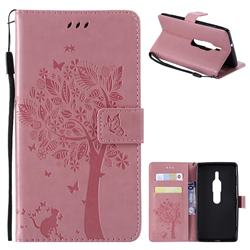 Embossing Butterfly Tree Leather Wallet Case for Sony Xperia XZ2 Premium - Pink