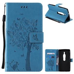 Embossing Butterfly Tree Leather Wallet Case for Sony Xperia XZ2 Premium - Blue