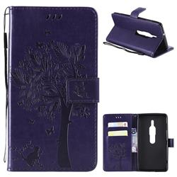 Embossing Butterfly Tree Leather Wallet Case for Sony Xperia XZ2 Premium - Purple