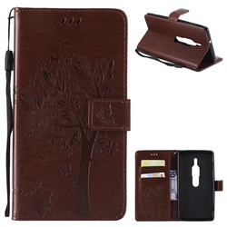 Embossing Butterfly Tree Leather Wallet Case for Sony Xperia XZ2 Premium - Coffee