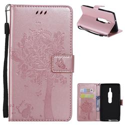 Embossing Butterfly Tree Leather Wallet Case for Sony Xperia XZ2 Premium - Rose Pink