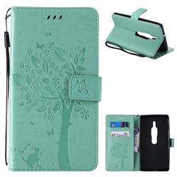 Embossing Butterfly Tree Leather Wallet Case for Sony Xperia XZ2 Premium - Cyan