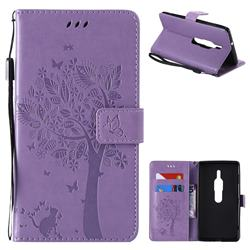 Embossing Butterfly Tree Leather Wallet Case for Sony Xperia XZ2 Premium - Violet