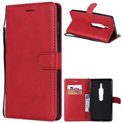 Retro Greek Classic Smooth PU Leather Wallet Phone Case for Sony Xperia XZ2 Premium - Red