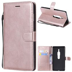 Retro Greek Classic Smooth PU Leather Wallet Phone Case for Sony Xperia XZ2 Premium - Rose Gold