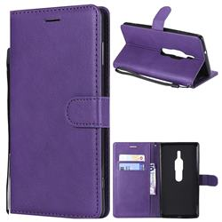 Retro Greek Classic Smooth PU Leather Wallet Phone Case for Sony Xperia XZ2 Premium - Purple