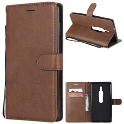 Retro Greek Classic Smooth PU Leather Wallet Phone Case for Sony Xperia XZ2 Premium - Brown