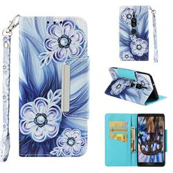 Button Flower Big Metal Buckle PU Leather Wallet Phone Case for Sony Xperia XZ2 Premium