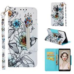 Fotus Flower Big Metal Buckle PU Leather Wallet Phone Case for Sony Xperia XZ2 Premium