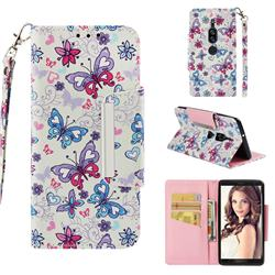 Colored Butterfly Big Metal Buckle PU Leather Wallet Phone Case for Sony Xperia XZ2 Premium