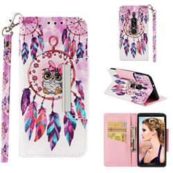 Owl Wind Chimes Big Metal Buckle PU Leather Wallet Phone Case for Sony Xperia XZ2 Premium