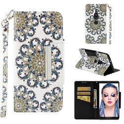 Phoenix Tail Big Metal Buckle PU Leather Wallet Phone Case for Sony Xperia XZ2 Premium