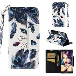 Peacock Feather Big Metal Buckle PU Leather Wallet Phone Case for Sony Xperia XZ2 Premium
