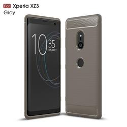 Luxury Carbon Fiber Brushed Wire Drawing Silicone TPU Back Cover for Sony Xperia XZ3 - Gray